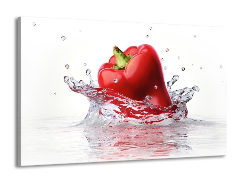Canvas Schilderij Paprika, Keuken | Wit, Rood | 140x90cm 1Luik