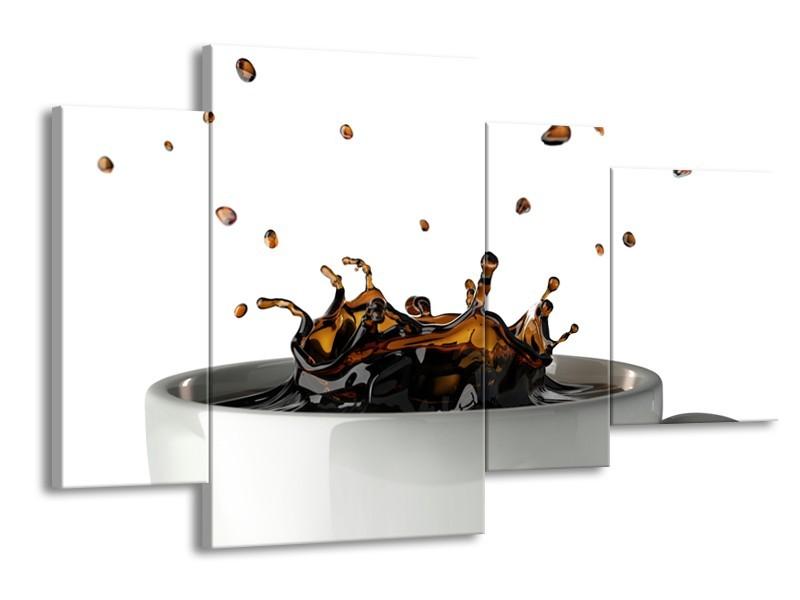 Canvas Schilderij Koffie, Keuken | Wit, Bruin | 120x75cm 4Luik