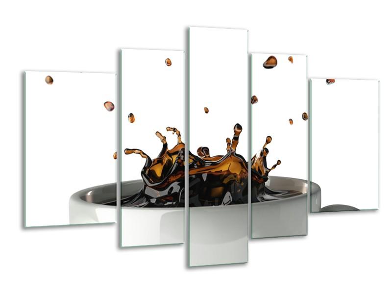 Canvas Schilderij Koffie, Keuken | Wit, Bruin | 170x100cm 5Luik