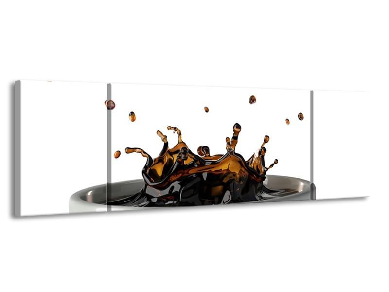 Canvas Schilderij Koffie, Keuken | Wit, Bruin | 170x50cm 3Luik
