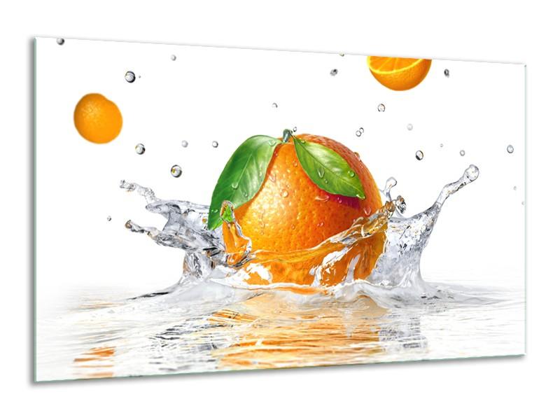 Glasschilderij Sinaasappel, Keuken   Wit, Oranje, Groen   120x70cm 1Luik