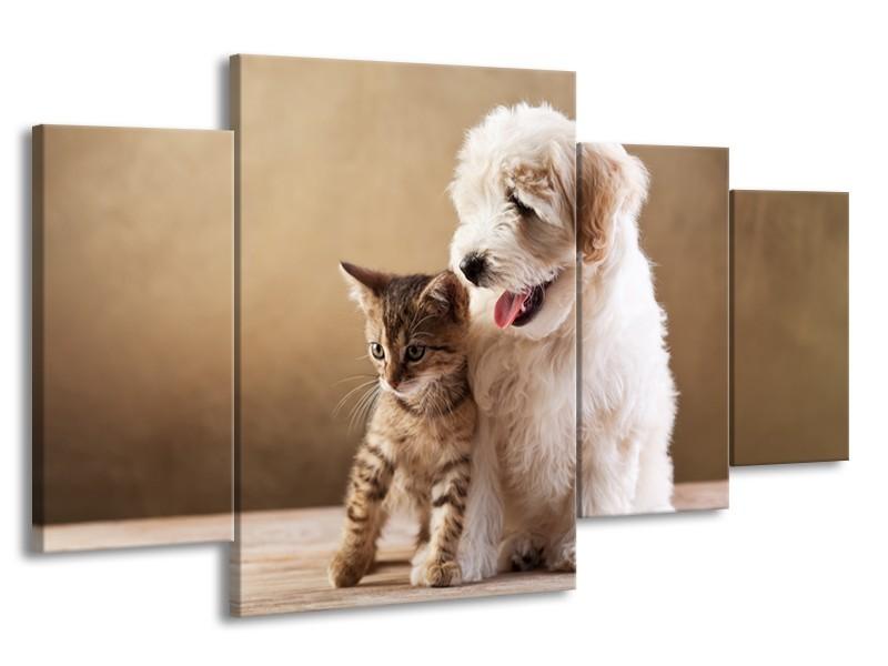 Canvas Schilderij Hond, Poes   Bruin, Crème   160x90cm 4Luik
