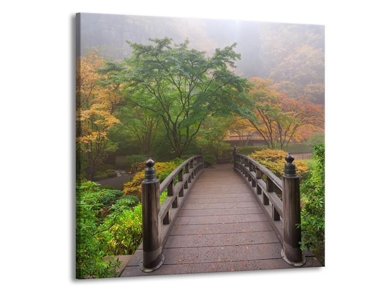 Canvas Schilderij Natuur, Brug | Groen, Bruin, Grijs | 50x50cm 1Luik