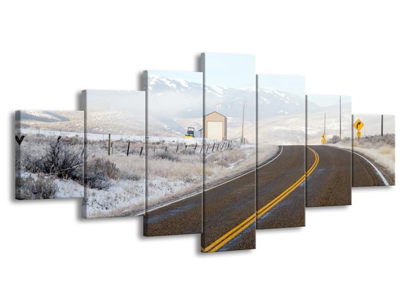 Glasschilderij Bergen, Winter | Bruin, Grijs, Wit | 210x100cm 7Luik
