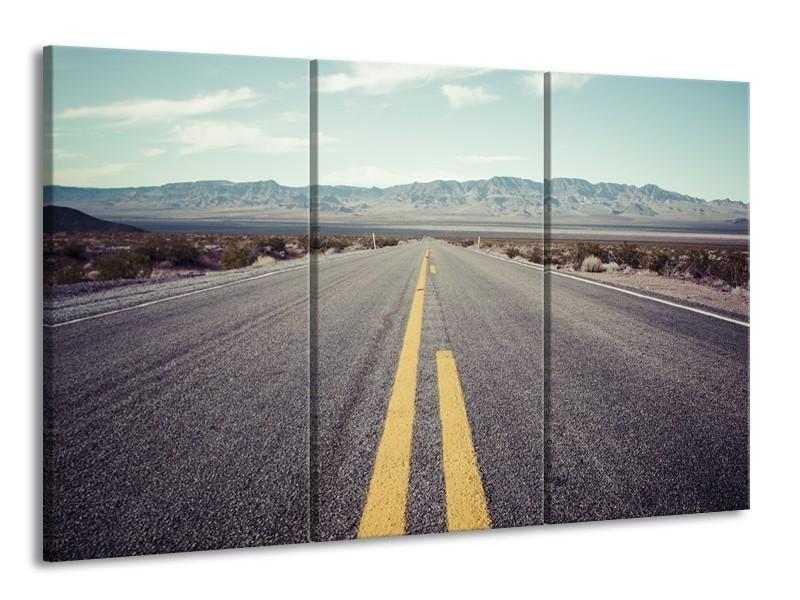 Canvas Schilderij Weg, Natuur | Grijs, Bruin, Geel | 165x100cm 3Luik
