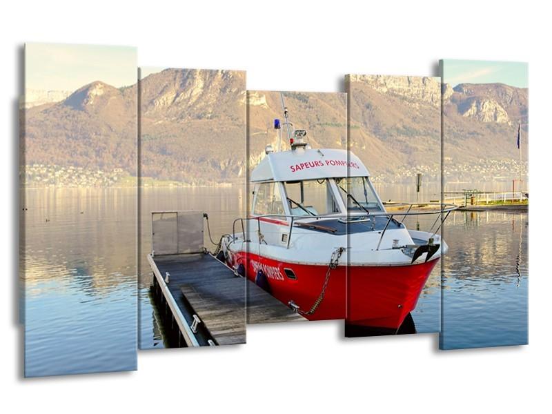 Canvas Schilderij Boot, Bergen | Rood, Grijs, Wit | 150x80cm 5Luik