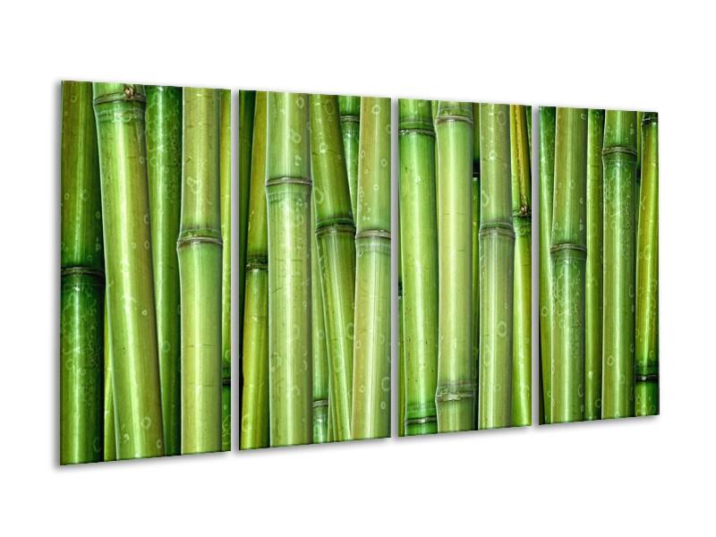 Canvas Schilderij Bamboe, Natuur | Groen | 160x80cm 4Luik