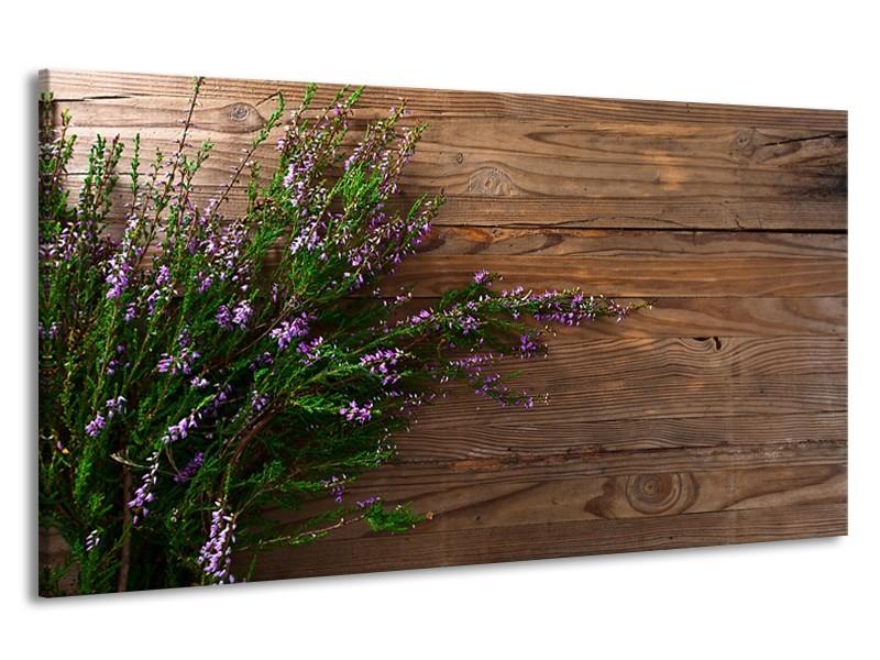 Canvas Schilderij Lavendel, Landelijk | Bruin, Paars, Groen | 190x100cm 1Luik