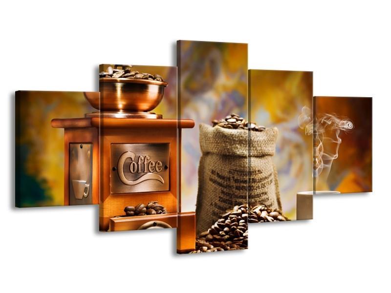 Canvas Schilderij Koffie, Keuken | Bruin, Geel, Oranje | 150x80cm 5Luik