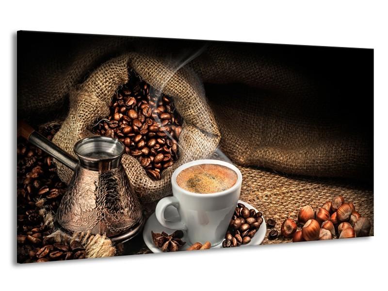 Canvas Schilderij Koffie, Keuken | Bruin, Geel, Wit | 190x100cm 1Luik