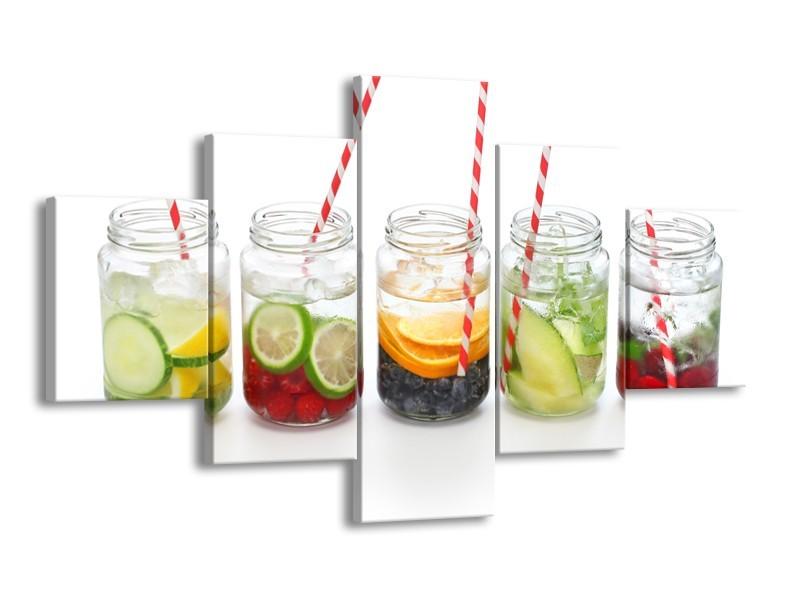 Glasschilderij Keuken, Drinken   Wit, Rood, Groen   125x70cm 5Luik