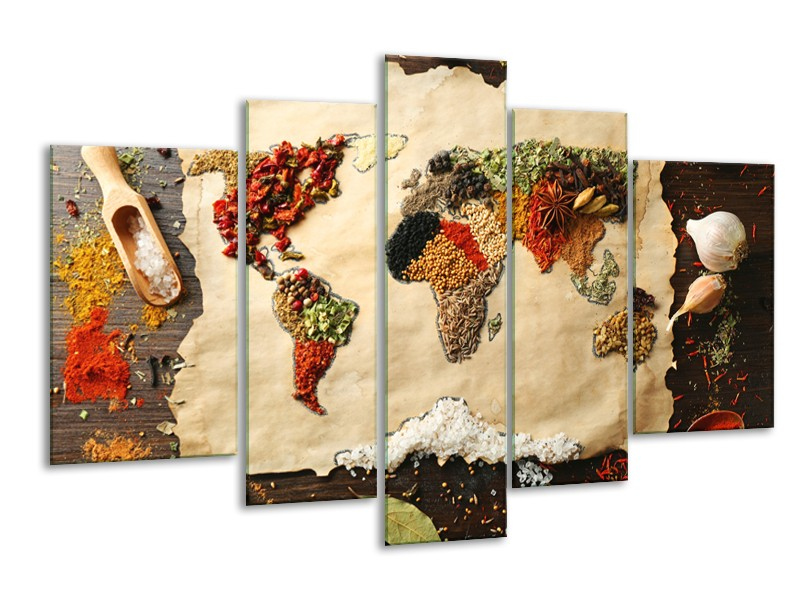 Glasschilderij Kruiden, Wereldkaart | Bruin, Crème | 170x100cm 5Luik