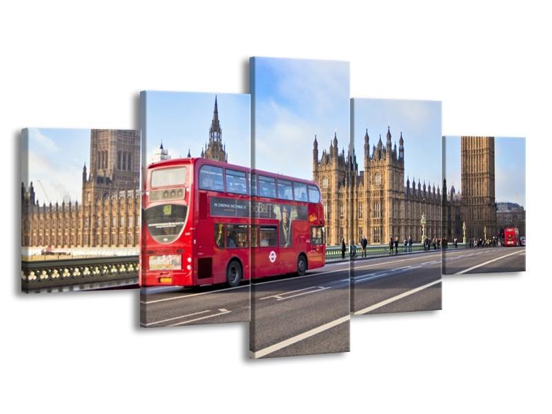 Glasschilderij Engeland, London   Rood, Blauw, Grijs   150x80cm 5Luik