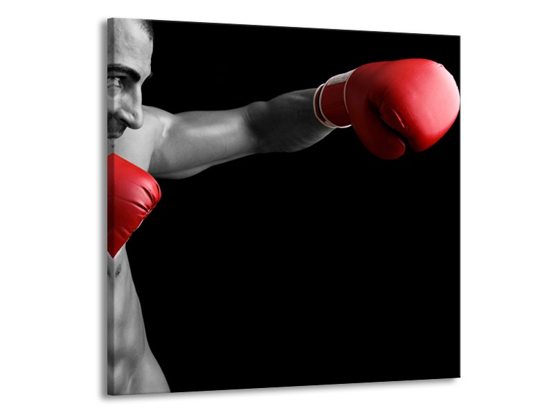 Canvas Schilderij Man, Sport   Zwart, Grijs, Rood   50x50cm 1Luik