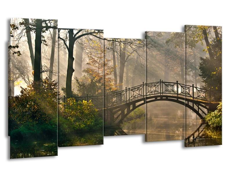 Canvas Schilderij Brug, Natuur | Grijs, Groen, Bruin | 150x80cm 5Luik