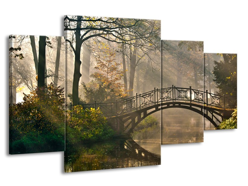Canvas Schilderij Brug, Natuur | Grijs, Groen, Bruin | 160x90cm 4Luik