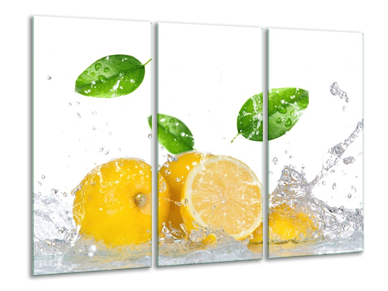 Canvas Schilderij Citroen, Keuken   Wit, Geel, Groen   120x80cm 3Luik