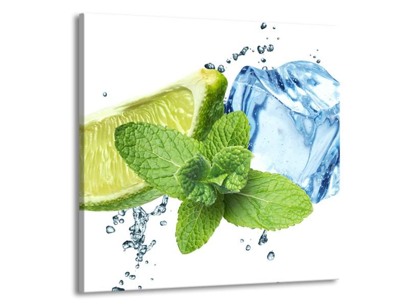 Canvas Schilderij Munt, Keuken | Groen, Geel, Blauw | 50x50cm 1Luik
