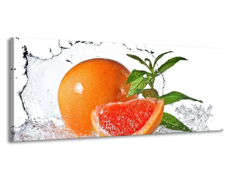 Canvas Schilderij Fruit, Keuken   Oranje, Wit, Groen   145x58cm 1Luik