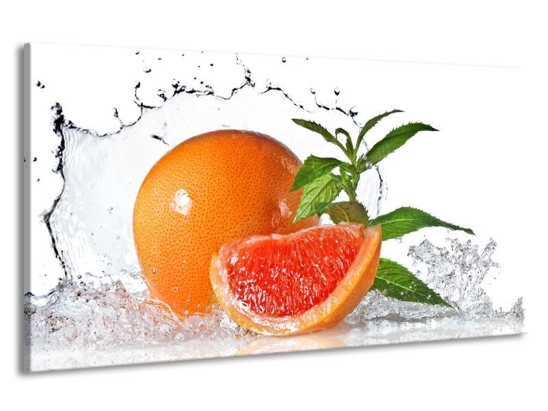 Canvas Schilderij Fruit, Keuken   Oranje, Wit, Groen   190x100cm 1Luik