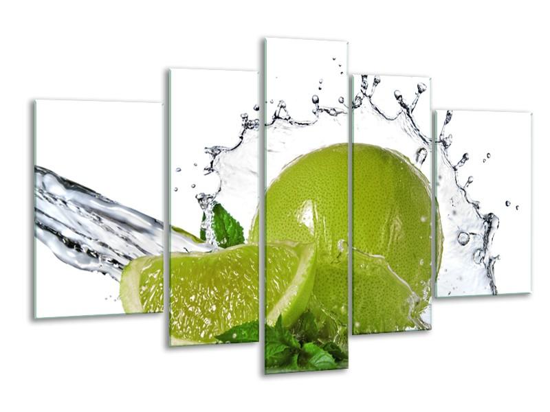 Glasschilderij Fruit, Keuken | Groen, Wit, Zilver | 170x100cm 5Luik