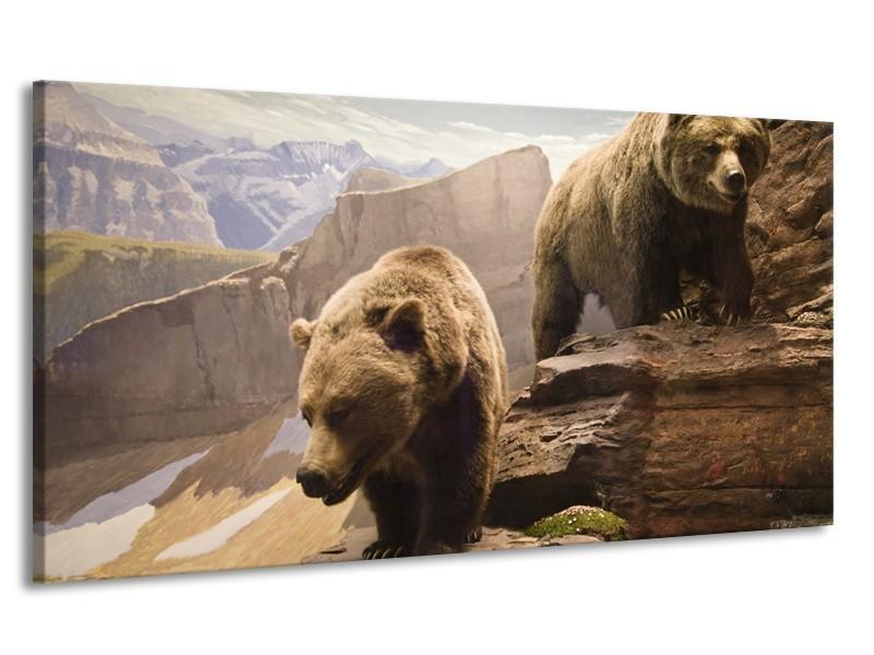 Canvas Schilderij Beer, Bergen | Bruin, Grijs | 170x90cm 1Luik