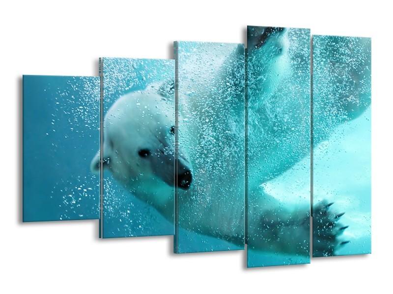 Canvas Schilderij Poolbeer, Dieren   Blauw, Groen, Grijs   150x100cm 5Luik