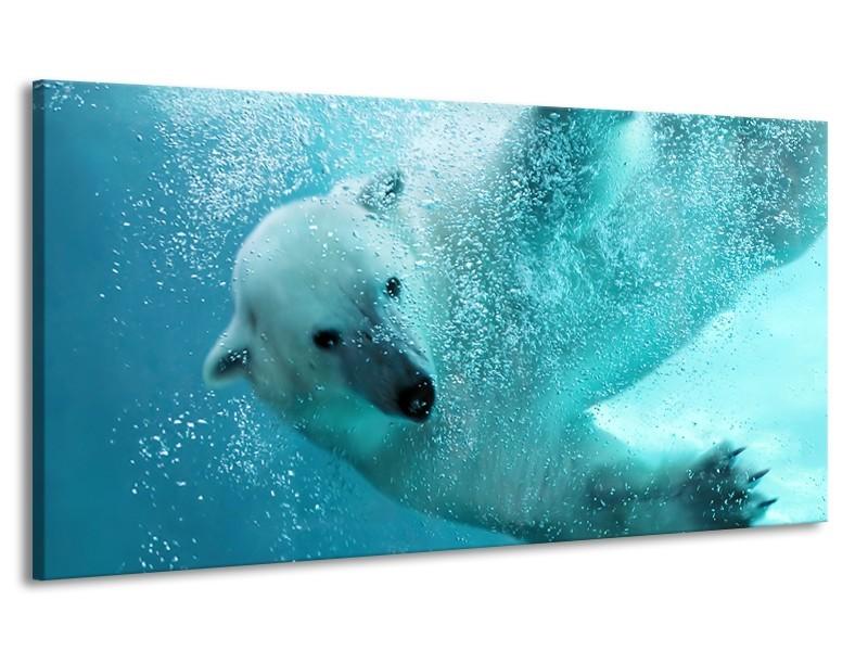Canvas Schilderij Poolbeer, Dieren | Blauw, Groen, Grijs | 170x90cm 1Luik