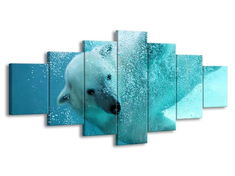 Glasschilderij Poolbeer, Dieren | Blauw, Groen, Grijs | 210x100cm 7Luik