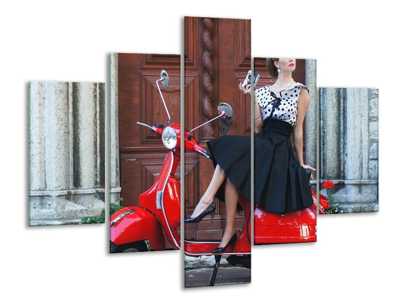 Glasschilderij Scooter, Motor | Rood, Zwart, Bruin | 100x70cm 5Luik