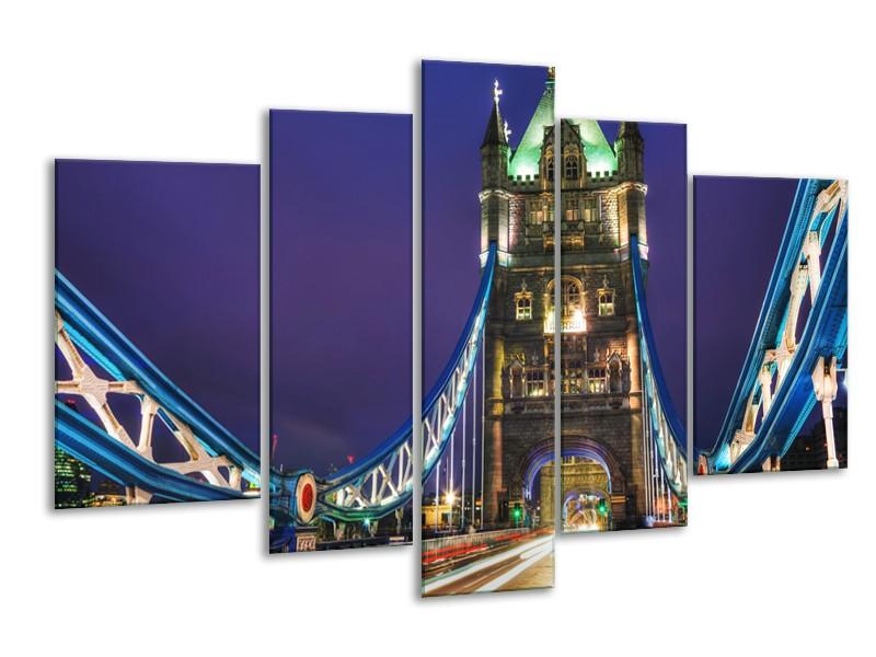 Glasschilderij Brug, Steden | Pars, Blauw, Bruin | 170x100cm 5Luik