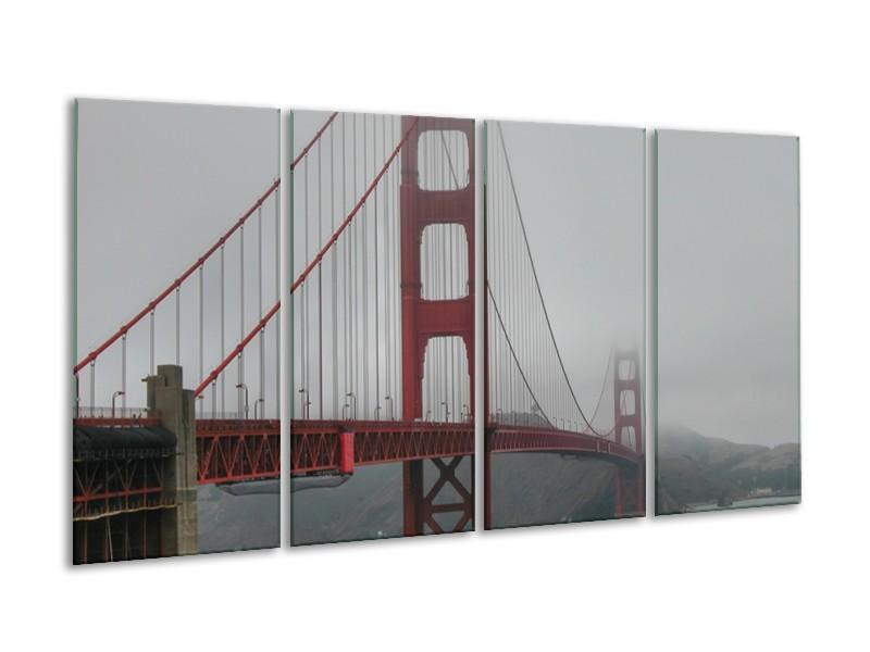 Canvas Schilderij Brug | Grijs, Rood | 160x80cm 4Luik