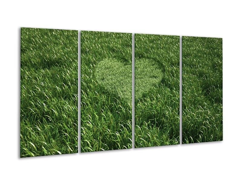 Glasschilderij Gras, Hart   Groen   160x80cm 4Luik