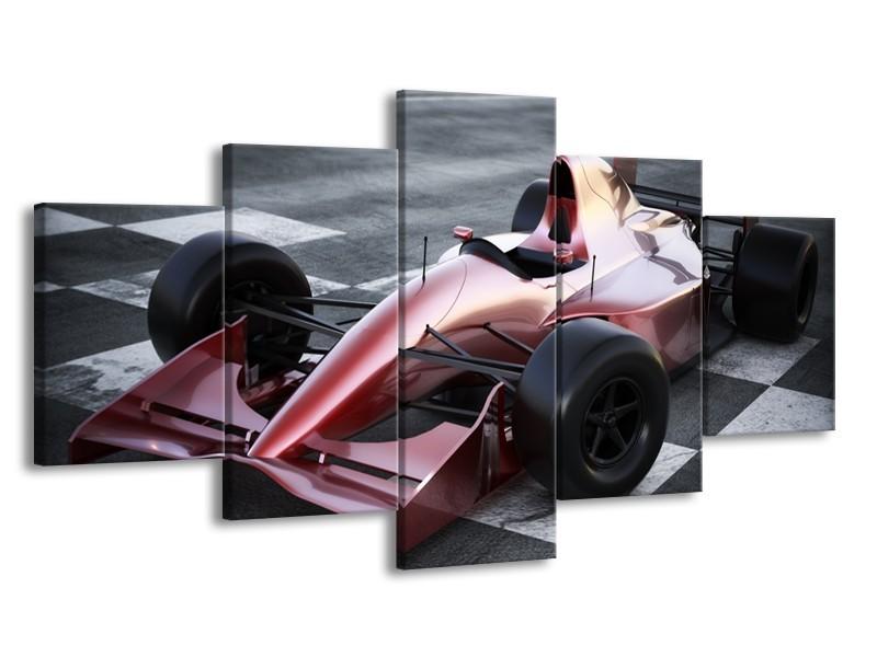 Canvas Schilderij Auto, Formule 1 | Grijs, Roze, Rood | 150x80cm 5Luik