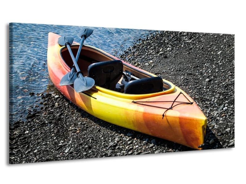 Canvas Schilderij Boot, Sport | Geel, Oranje, Grijs | 170x90cm 1Luik