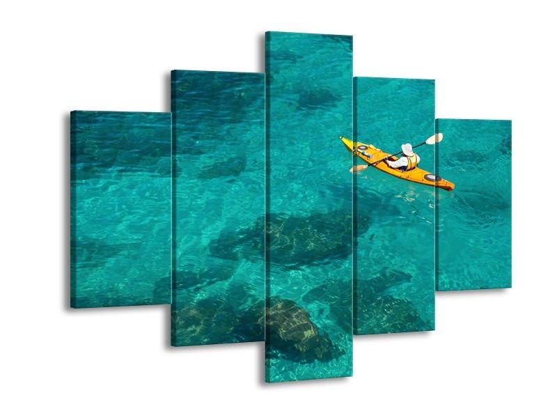 Canvas Schilderij Boot, Sport | Turquoise, Geel, Groen | 150x105cm 5Luik