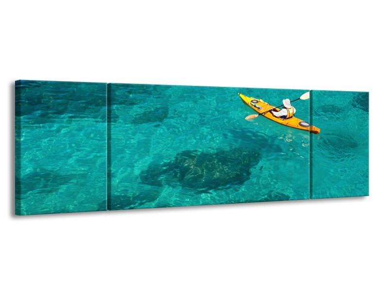 Canvas Schilderij Boot, Sport | Turquoise, Geel, Groen | 170x50cm 3Luik