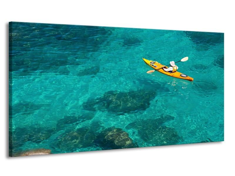 Canvas Schilderij Boot, Sport | Turquoise, Geel, Groen | 170x90cm 1Luik