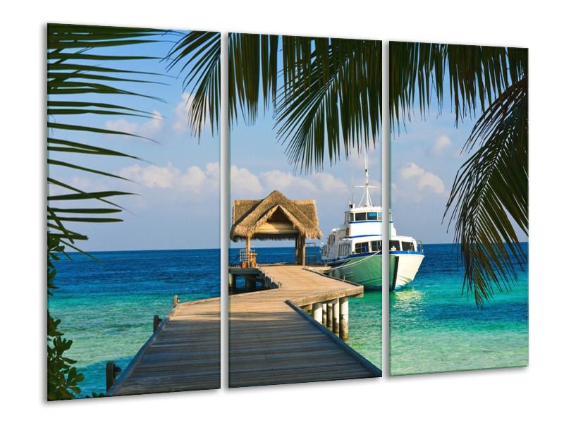 Canvas Schilderij Boot, Natuur | Groen, Blauw, Turquoise | 120x80cm 3Luik