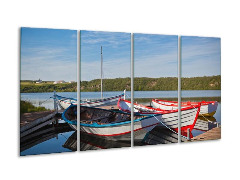 Canvas Schilderij Boot, Natuur | Grijs, Rood, Blauw | 160x80cm 4Luik