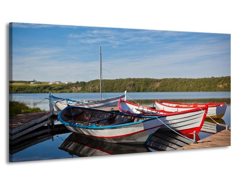 Canvas Schilderij Boot, Natuur | Grijs, Rood, Blauw | 170x90cm 1Luik