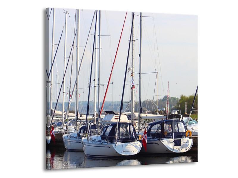 Canvas Schilderij Boot | Grijs, Wit, Blauw | 50x50cm 1Luik