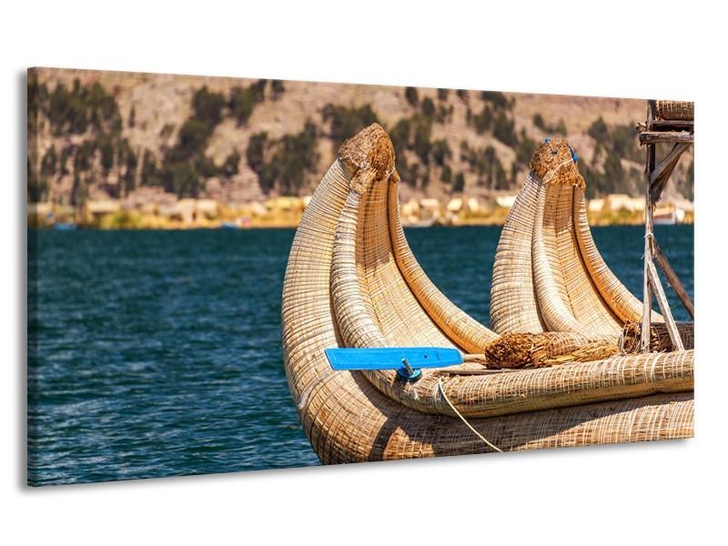 Canvas Schilderij Boot, Natuur | Geel, Bruin, Blauw | 170x90cm 1Luik
