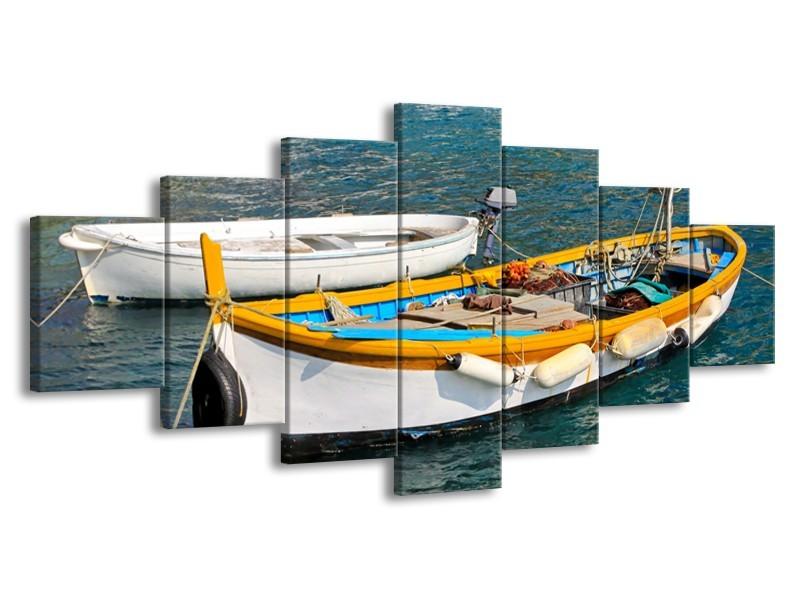 Glasschilderij Boot, Water   Grijs, Geel, Wit   210x100cm 7Luik