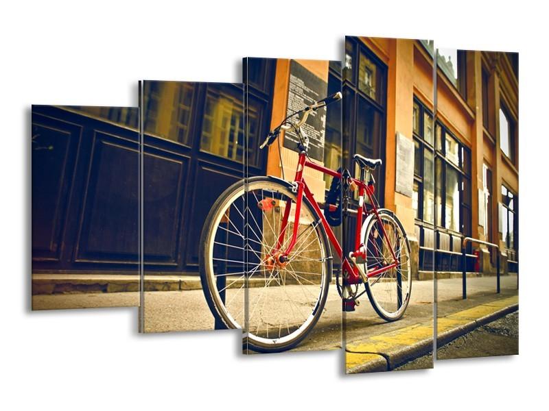 Canvas Schilderij Fiets, Straat | Bruin, Rood, Geel | 150x100cm 5Luik