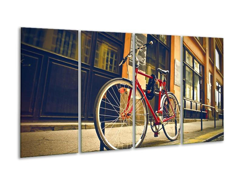 Glasschilderij Fiets, Straat | Bruin, Rood, Geel | 160x80cm 4Luik