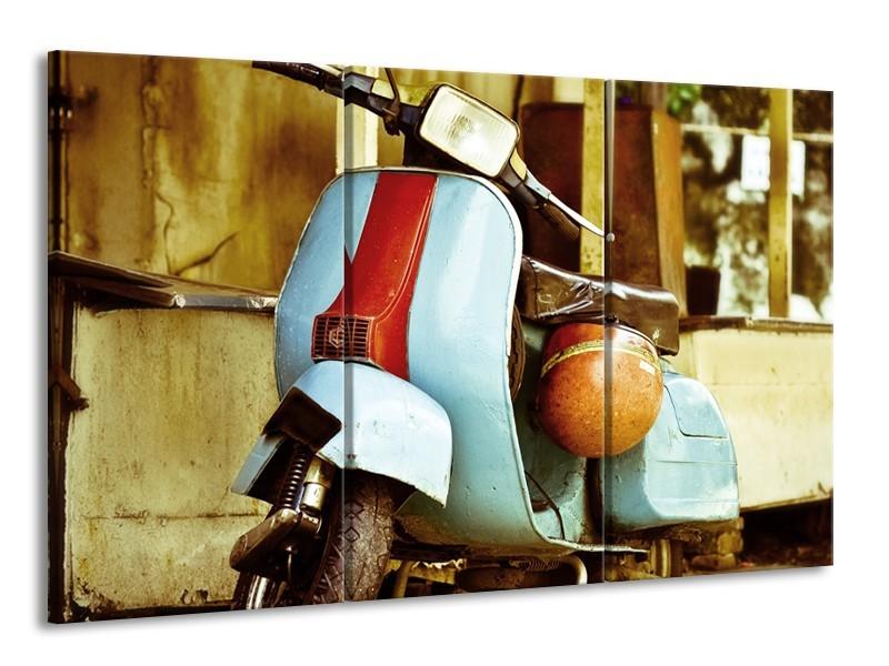 Canvas Schilderij Scooter, Motor | Bruin, Geel, Blauw | 165x100cm 3Luik