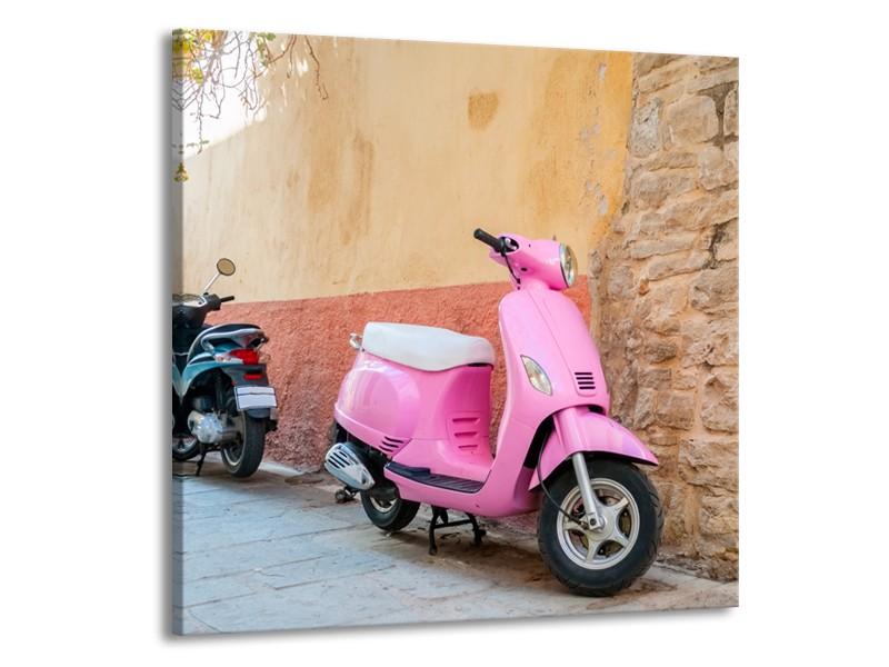 Glasschilderij Scooter, Motor | Bruin, Roze, Crème | 70x70cm 1Luik