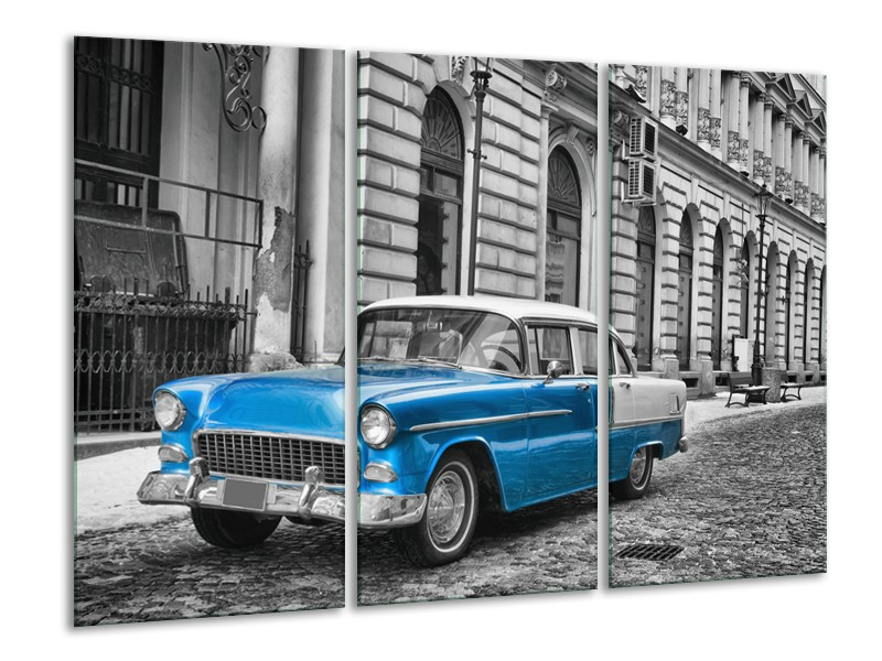 Glasschilderij Oldtimer, Auto   Grijs, Blauw, Zwart   120x80cm 3Luik