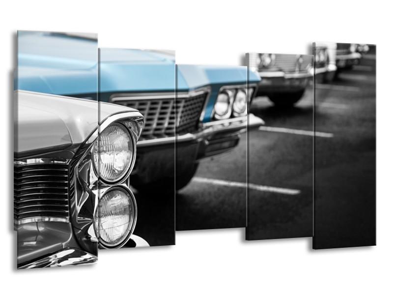 Glasschilderij Oldtimer, Auto | Grijs, Blauw, Zwart | 150x80cm 5Luik